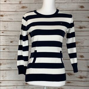 Tommy Hilfiger Navy & White Striped Sweater Top